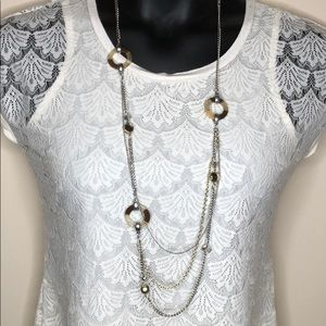 Loft long chain necklace silver tone circles